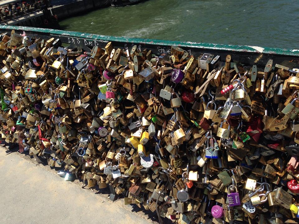 Love locks on the Pont des Arts. One of the things to see if you walk along Seine River.