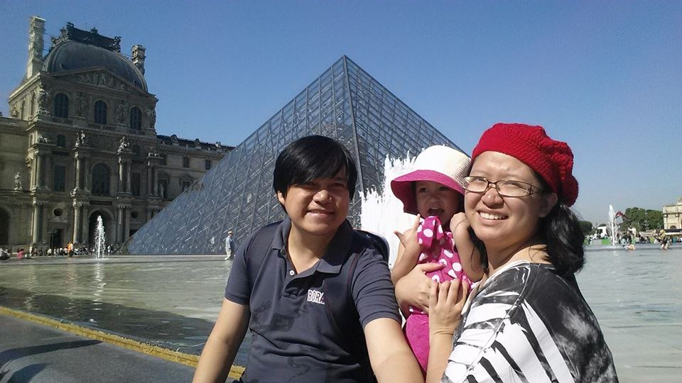 Outside Musee de Louvre with the infamous pyramid