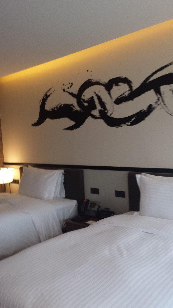 Deluxe room at Nobu Hotel, City of Dreams with two double beds