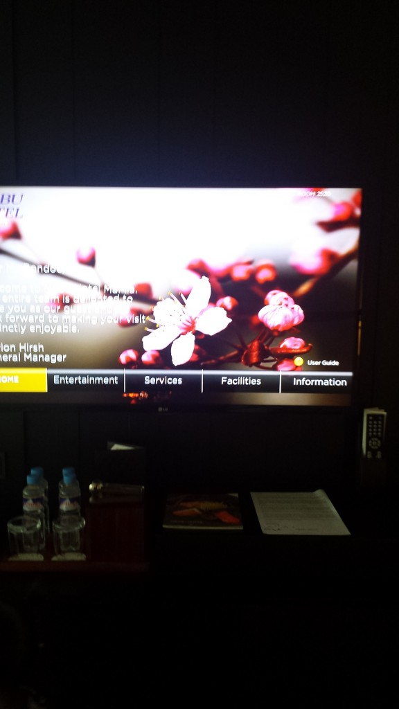 I love the personalized greeting on the TV from the hotel's general manager.
