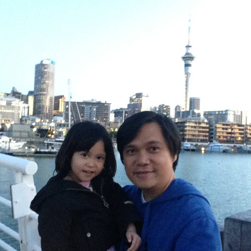 Daddy - daughter bonding at Viaduct Harbour