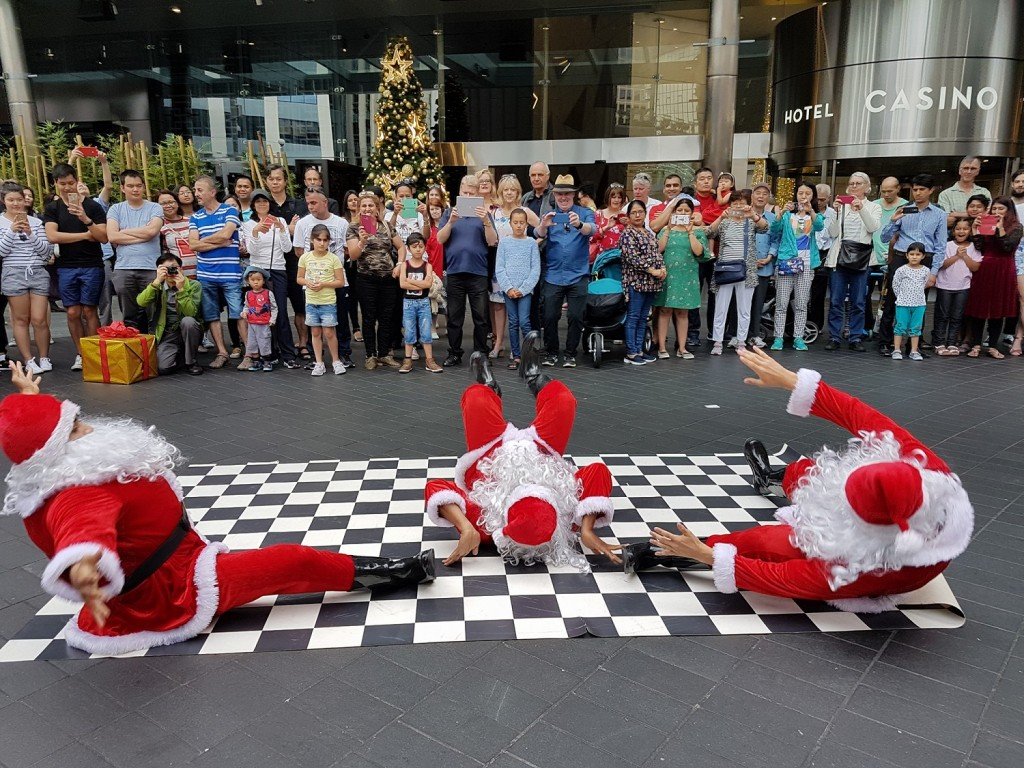 Dancing Santas at SkyCity