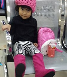 Jellybean's Spring Look for Hong Kong:  Pumpkin Patch Black Long-sleeved shirt, Black and White striped leggings, Sugar Kids Pink Knee-high boots and slouch pink crochet hat.