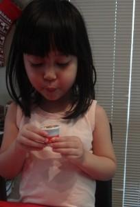 Jellybean drinking the Kracie cola.